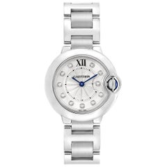 Cartier Ballon Blue Silver Diamond Dial Steel Ladies Watch WE902073