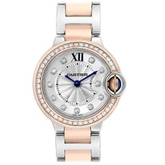 Cartier Ballon Blue Steel Rose Gold Diamond Ladies Watch WE902076