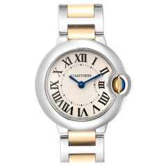 Cartier Ballon Blue Steel Yellow Gold Ladies Watch W69007Z3