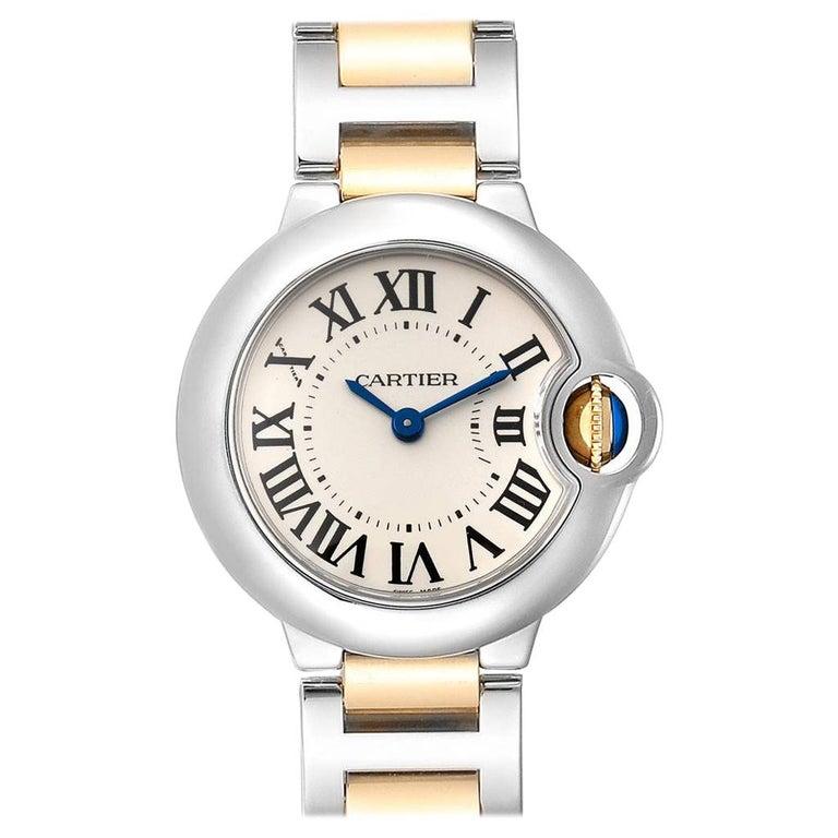 Cartier Ballon Blue Steel Yellow Gold Ladies Watch W69007Z3 For Sale