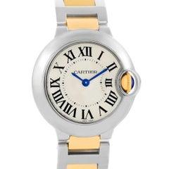 Cartier Ballon Blue Steel Yellow Gold Small Ladies Watch W69007Z3