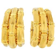 Cartier Bamboo 18 Karat Yellow Gold Large Earrings