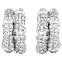 Cartier Bamboo Diamond Earrings in White Gold