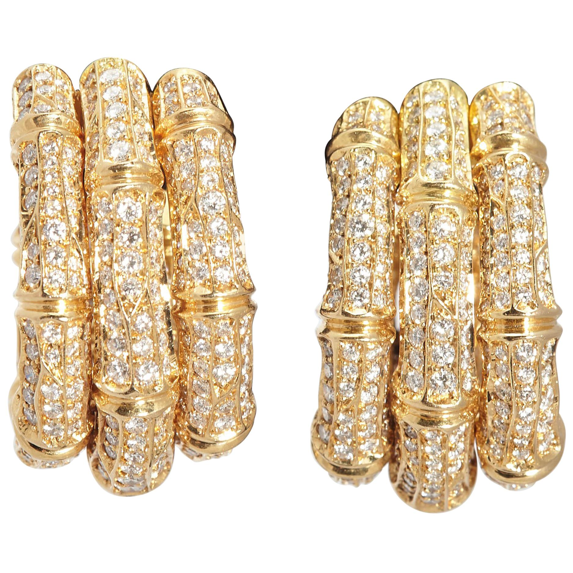 Cartier Bamboo Diamond Gold Hoop Ear-Clips