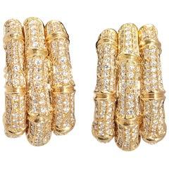 Cartier Bamboo Diamond Gold Hoop Ear-Clips