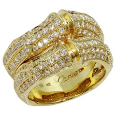 Cartier Bamboo Diamond Yellow Gold Double Ring