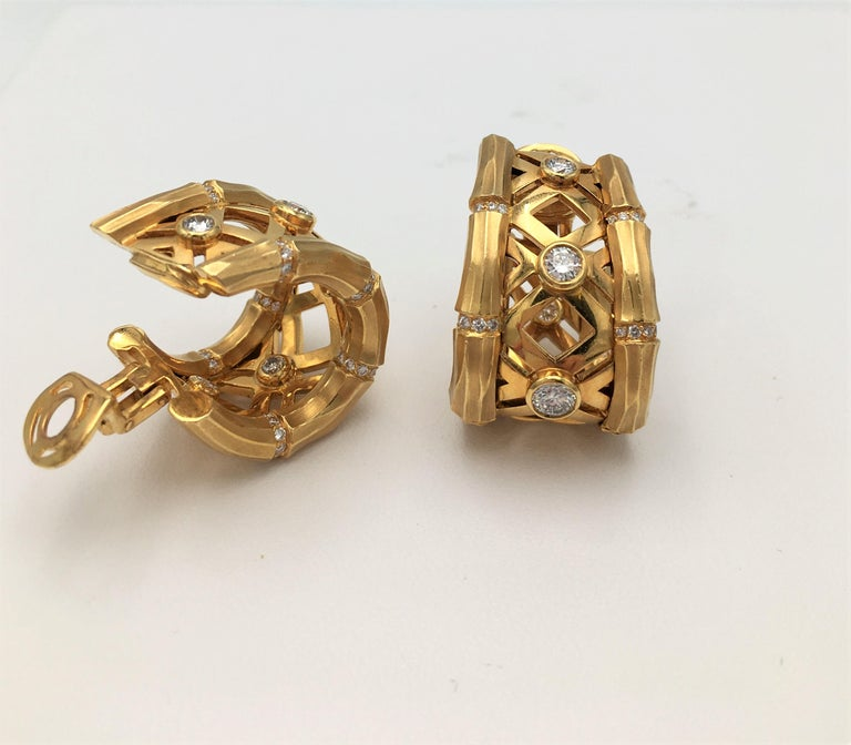 Cartier 'Bamboo' Yellow Gold and Diamond Earrings In Excellent Condition For Sale In New York, NY