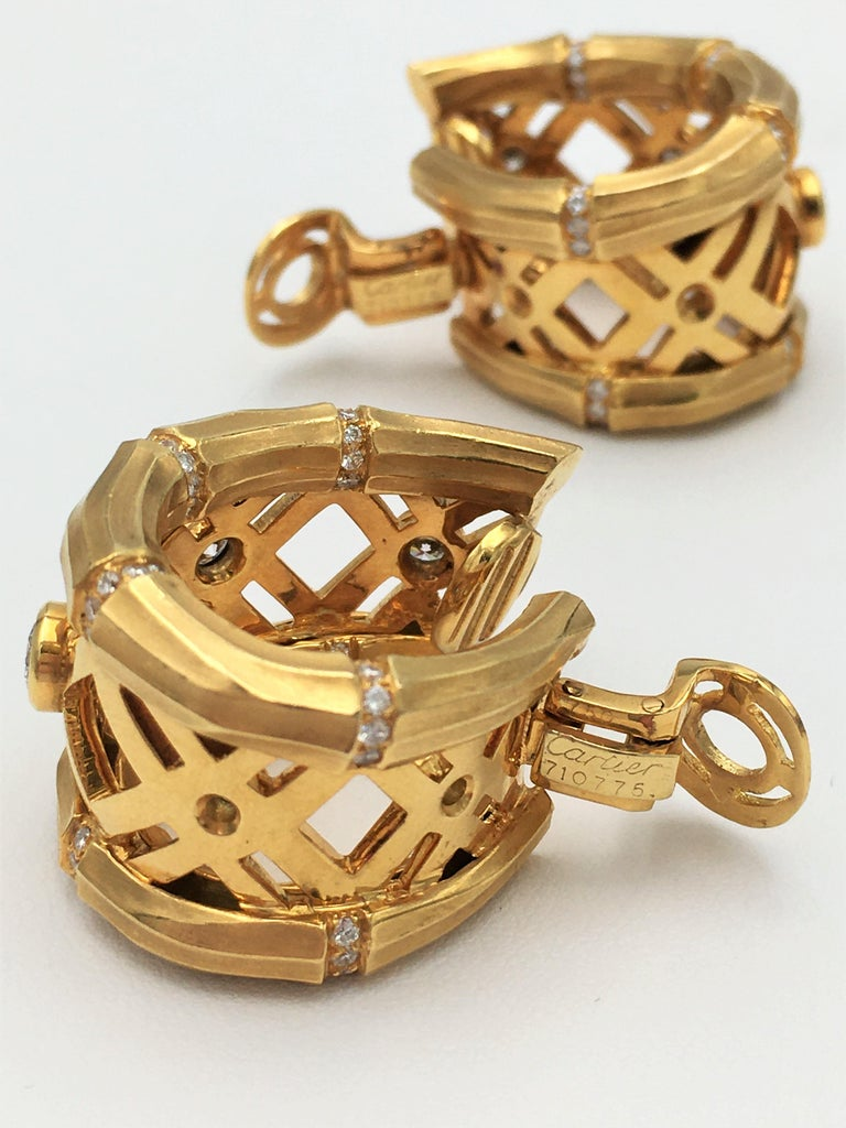 Women's Cartier 'Bamboo' Yellow Gold and Diamond Earrings For Sale