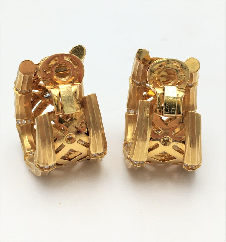 Cartier 'Bamboo' Yellow Gold and Diamond Earrings For Sale 1