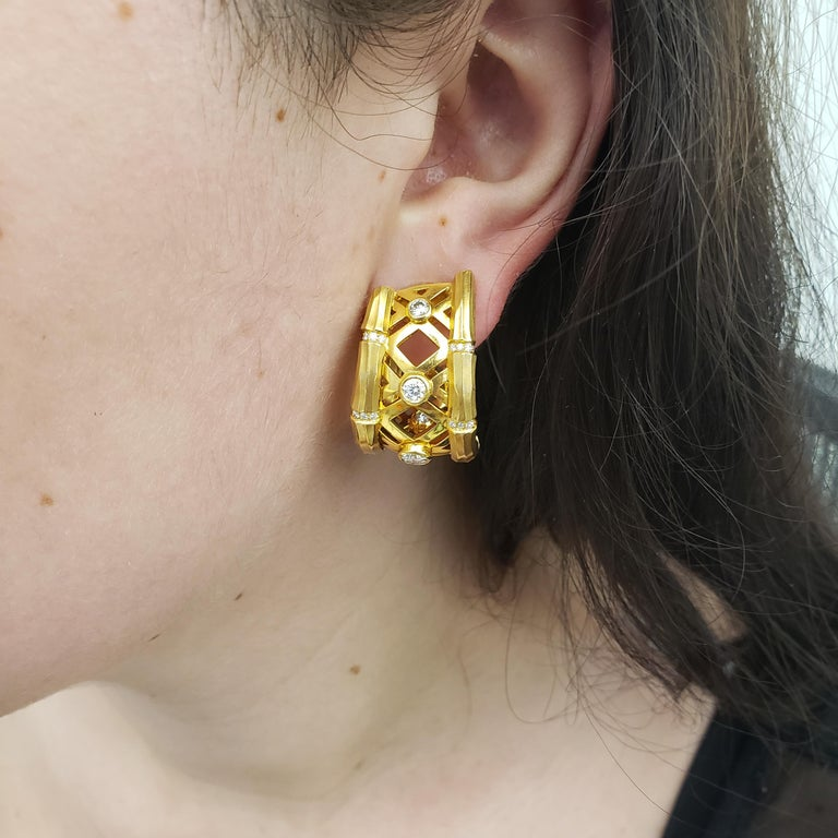 Cartier 'Bamboo' Yellow Gold and Diamond Earrings For Sale 2