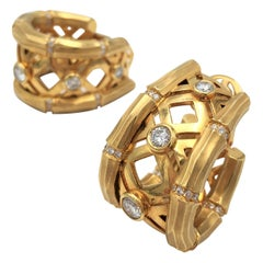Cartier 'Bamboo' Yellow Gold and Diamond Earrings