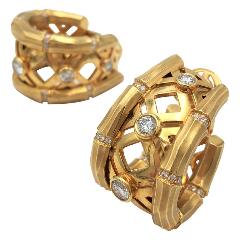 Cartier 'Bamboo' Yellow Gold and Diamond Earrings For Sale