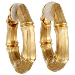 Cartier Bamboo Yellow Gold Oval Hoop Clip-On Earrings