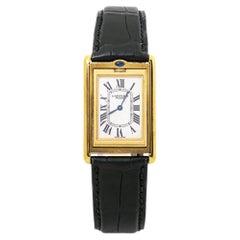 Cartier Basculante 2499D New Rare 18k Yellow Gold Mens Watch Box & Paper
