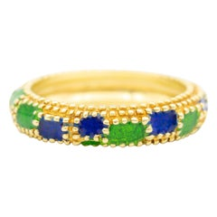 Cartier Beaded Green and Blue Enamel Ring, in 18 Karat Yellow Gold, circa 1960s