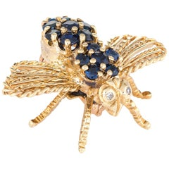 Cartier Bee Brooch Vintage 18 Karat Gold Diamond Sapphire Estate Fine Jewelry