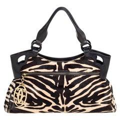 Cartier Beige/Black Zebra Print Pony Hair Leather Marcello de Cartier Satchel