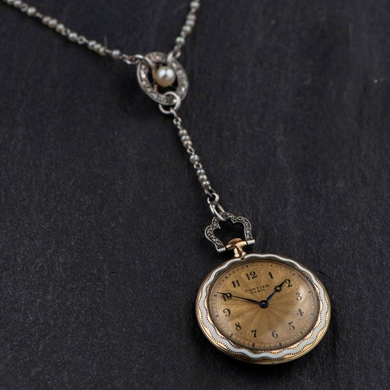 Cartier Belle Époque Diamond Enamel Seed Pearl Ladies Watch, circa 1910 For Sale 8