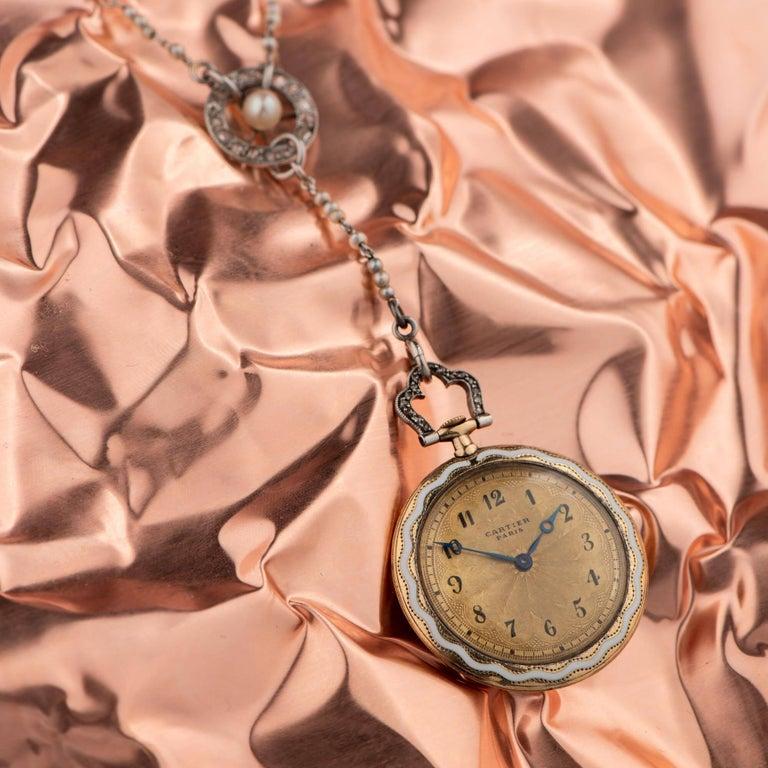 Cartier Belle Époque Diamond Enamel Seed Pearl Ladies Watch, circa 1910 For Sale 9