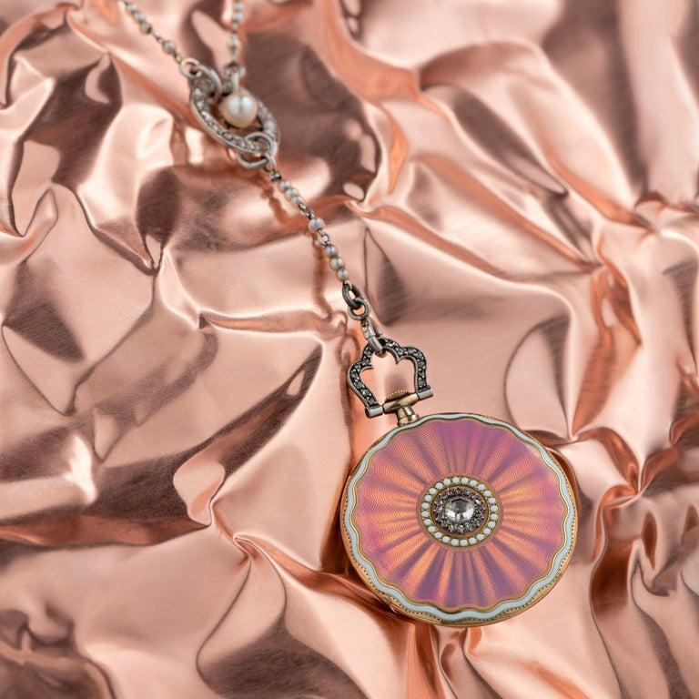 Cartier Belle Époque Diamond Enamel Seed Pearl Ladies Watch, circa 1910 For Sale 10