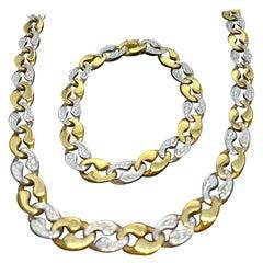 Cartier London 18k Gold Link Necklace Bracelet Brilliant Cut Diamonds Estate