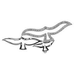 Cartier Bird Diamond White Gold Pendant Pin Brooch