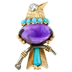 Cartier Bird of Paradise, Amethyst, Turquoise and Diamond Brooch