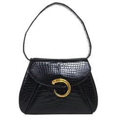 Cartier Black Crocodile Exotic Gold Emblem Kelly Top Handle Satchel Shoulder Bag