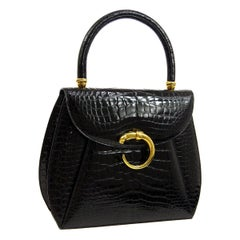 Cartier Black Crocodile Exotic Leather Gold Emblem Kelly Top Handle Satchel Bag