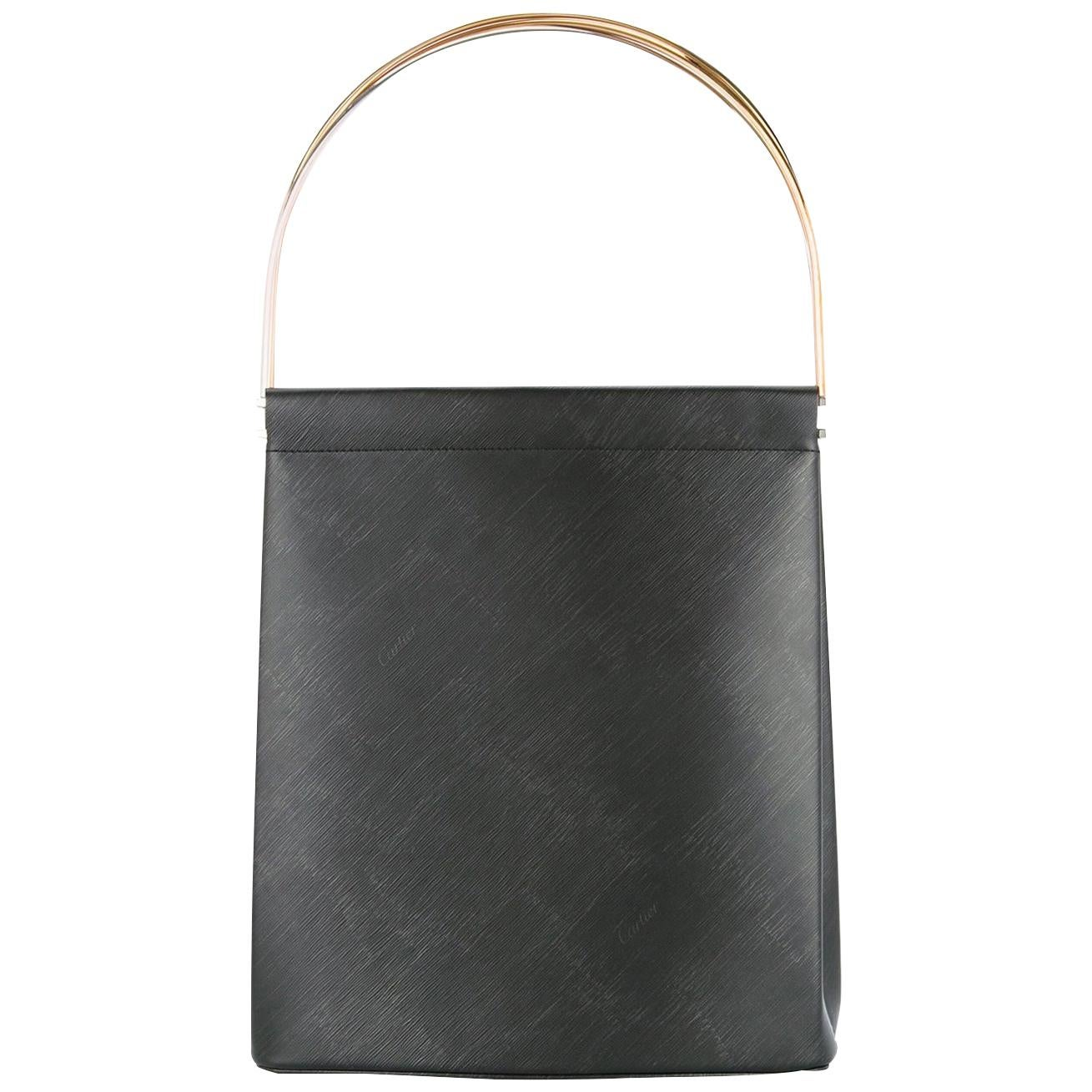 Cartier Black Leather Evening Kelly Style Top Handle Satchel Bag