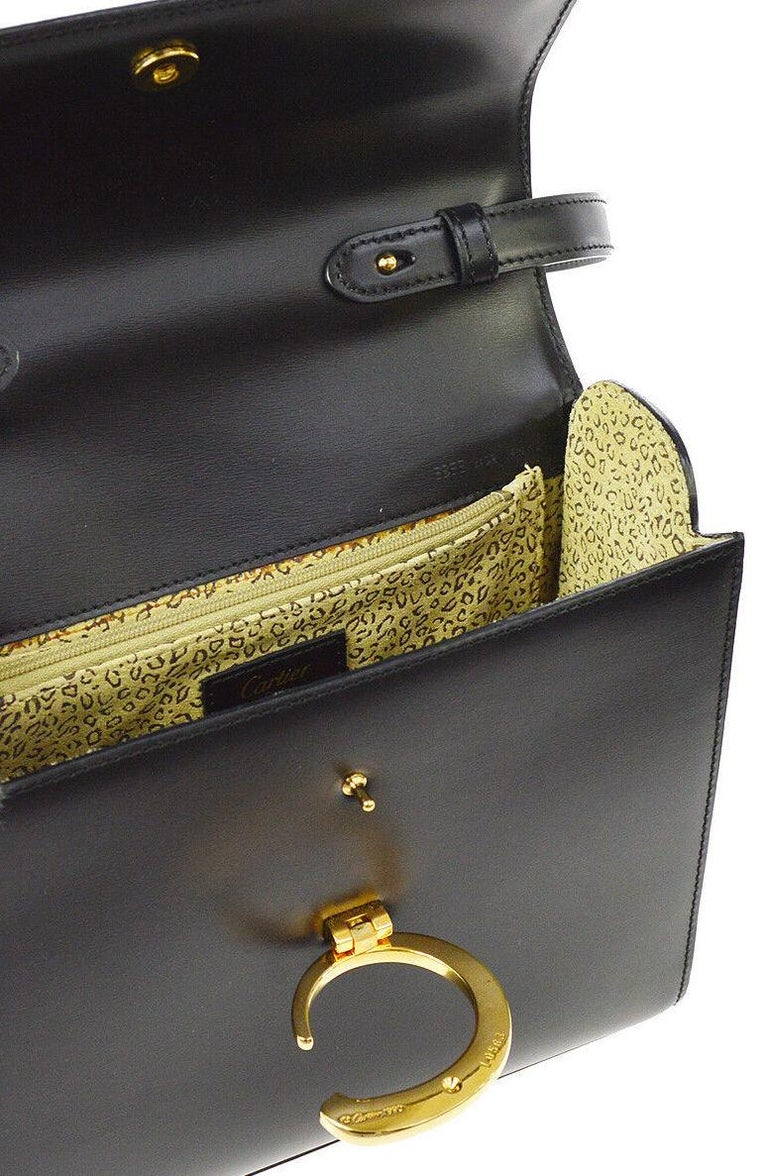 Cartier Black Leather Gold 2 in 1 Kelly Top Handle Satchel Shoulder Flap Bag For Sale 2