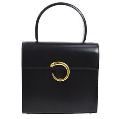 Cartier Black Leather Gold 2 in 1 Kelly Top Handle Satchel Shoulder Flap Bag