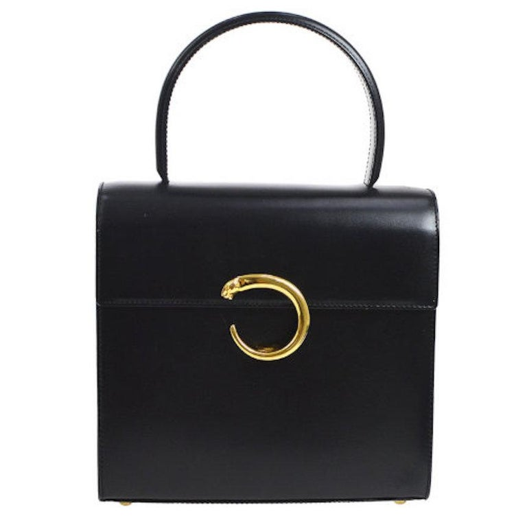 Cartier Black Leather Gold 2 in 1 Kelly Top Handle Satchel Shoulder Flap Bag For Sale