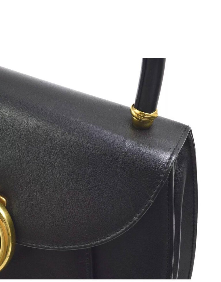 Cartier Black Leather Gold Emblem Charm Kelly Top Handle Satchel Flap Bag In Good Condition In Chicago, IL