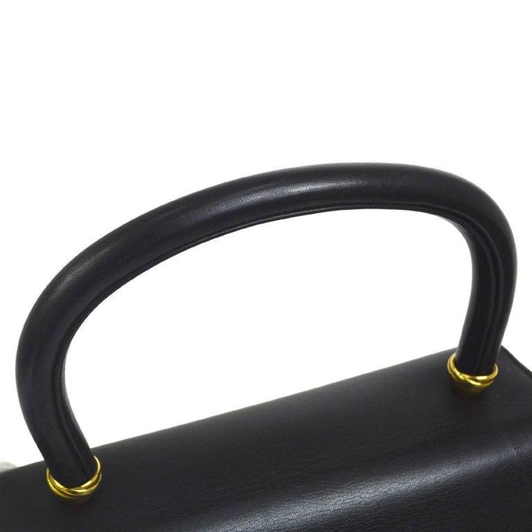 Women's Cartier Black Leather Gold Emblem Charm Kelly Top Handle Satchel Flap Bag