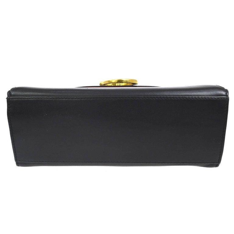 Cartier Black Leather Gold Emblem Charm Kelly Top Handle Satchel Flap Bag 1