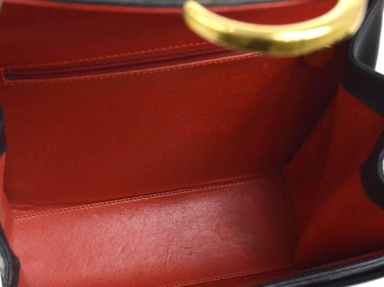 Cartier Black Leather Gold Emblem Charm Kelly Top Handle Satchel Flap Bag 4