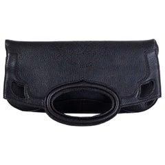 CARTIER black leather MARCELLO DE CARTIER PM FOLD-OVER Clutch Bag