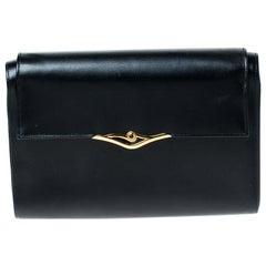 Cartier Black Leather Sapphire Line Flap Clutch