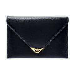 Cartier Black Leather Sapphire Line Flap Wallet