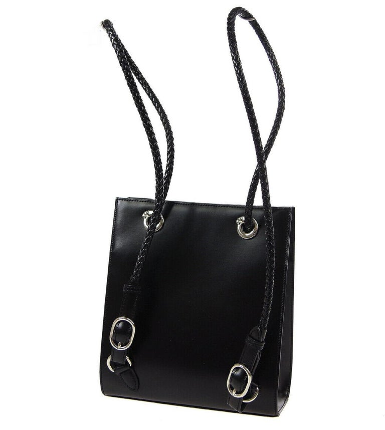 Cartier Black Leather Silver Logo Carryall Men's Women's Backpack Shoulder Bag In Good Condition For Sale In Chicago, IL
