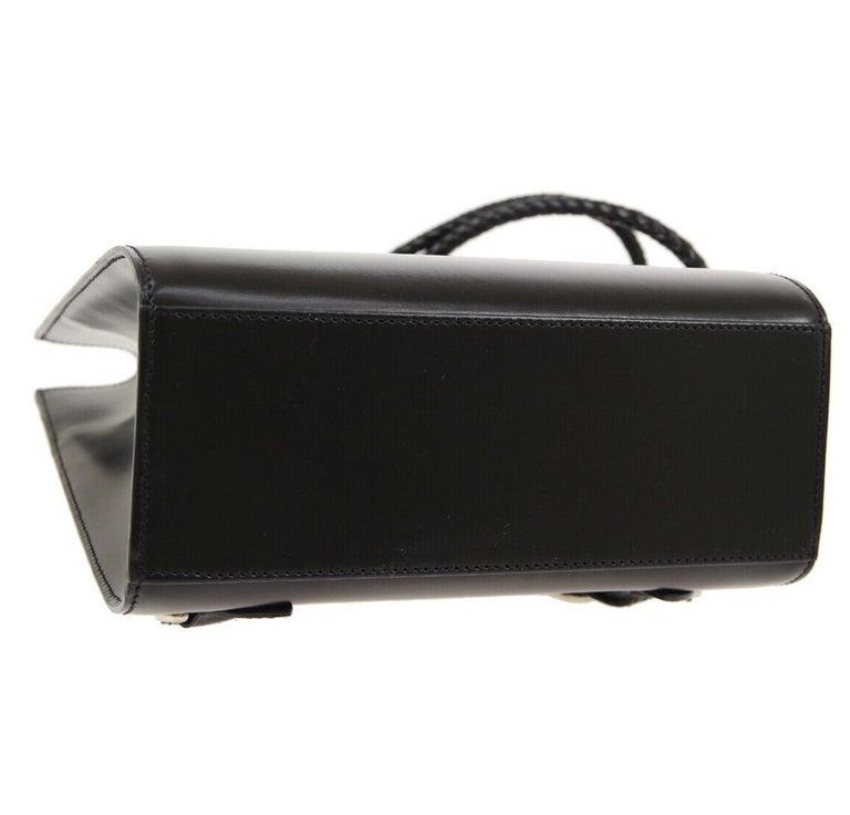 Cartier Black Leather Silver Logo Carryall Men's Women's Backpack Shoulder Bag For Sale 1