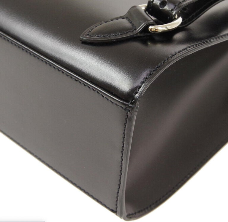 Cartier Black Leather Silver Logo Carryall Men's Women's Backpack Shoulder Bag For Sale 2