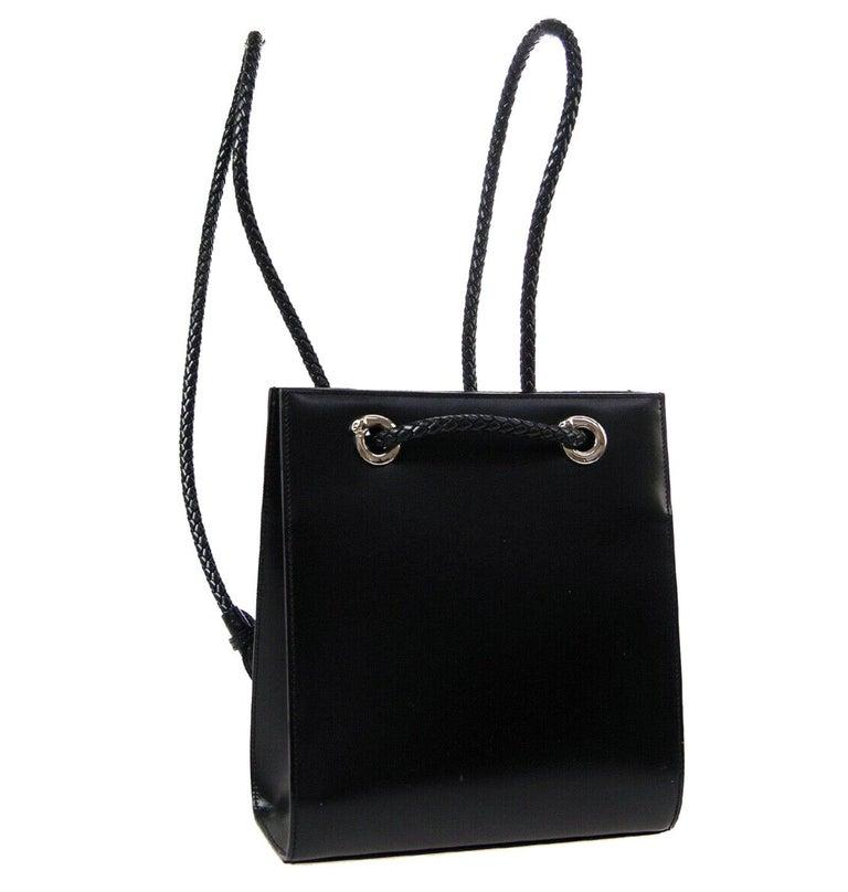 Cartier Black Leather Silver Logo Carryall Men's Women's Backpack Shoulder Bag For Sale