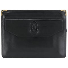 Cartier Black Leather Unisex Clutch Bag