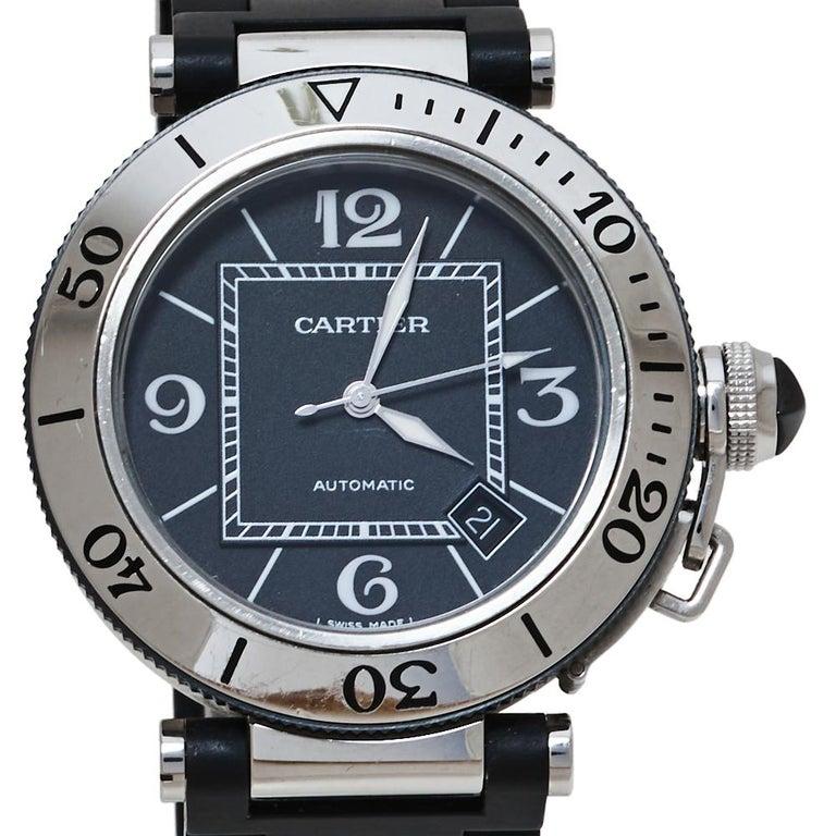 Cartier Black Stainless Rubber Pasha de Cartier 2790 Men's Wristwatch 40.50MM In Good Condition For Sale In Dubai, Al Qouz 2