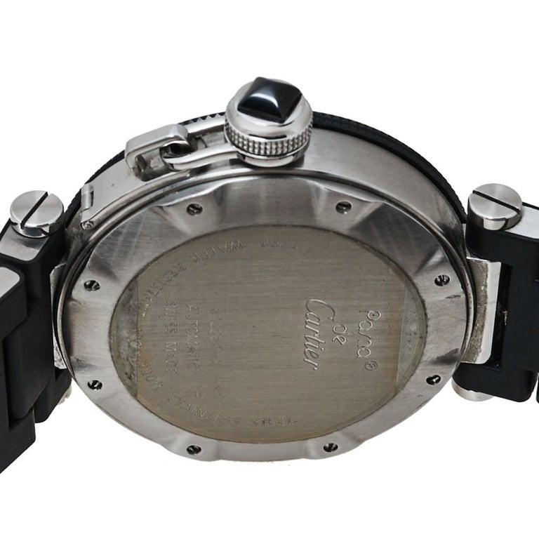 Cartier Black Stainless Rubber Pasha de Cartier 2790 Men's Wristwatch 40.50MM For Sale 1