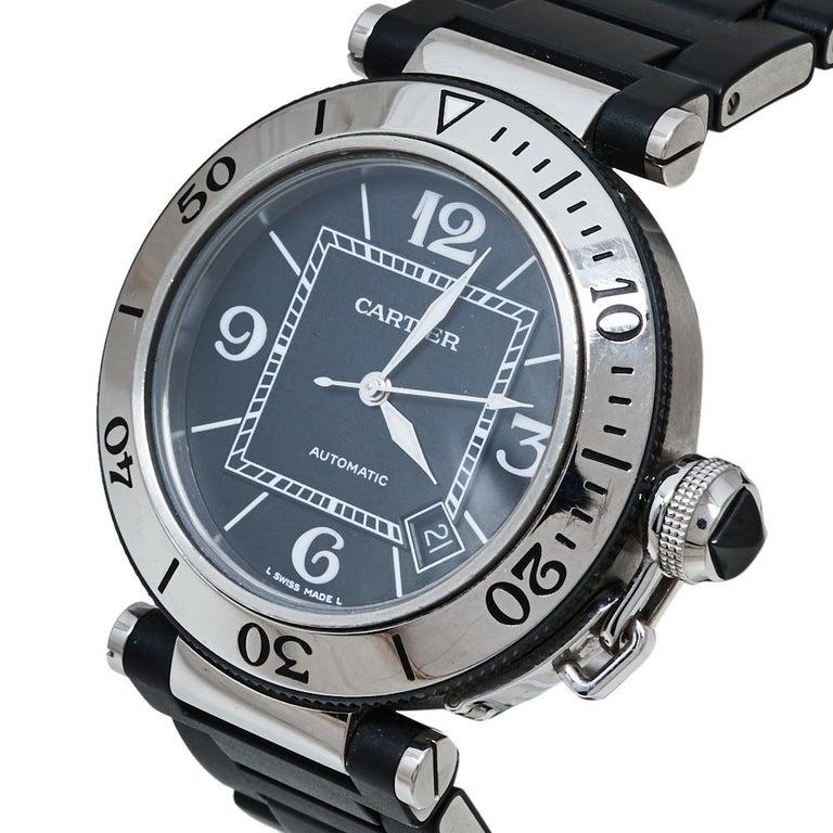 Cartier Black Stainless Rubber Pasha de Cartier 2790 Men's Wristwatch 40.50MM For Sale 2
