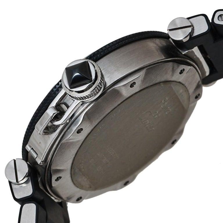 Cartier Black Stainless Rubber Pasha de Cartier 2790 Men's Wristwatch 40.50MM For Sale 3