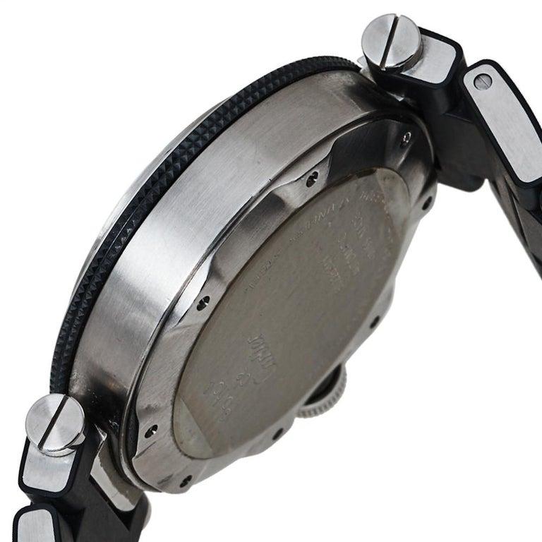Cartier Black Stainless Rubber Pasha de Cartier 2790 Men's Wristwatch 40.50MM For Sale 4